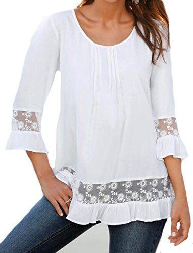OULIU Women Fashion Lace Stitching Three Quarter Sleeve T... https://www.amazon.com/dp/B01HAV9GWE/ref=cm_sw_r_pi_dp_x_5uxzyb0RGSVRD