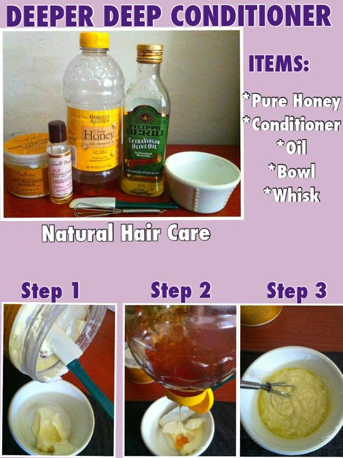 Natural deep conditioner. Sounds like a good one for those of you who color your hair or have just noticed your hair drying out.