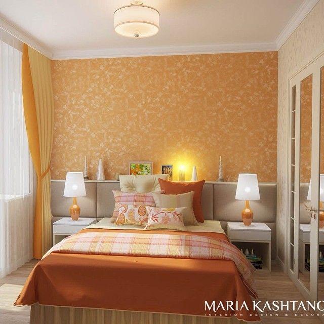 """Спальня """"сочный апельсин"""" Один из проектов #kashtanovacom 🍊 Весь проект можно посмотреть на нашем сайте www.kashtanova.com #интерьер #спальня #kashtanovacom #decor #design #стиль #оранжевый #зеркало #люстра #подушки #окно #кровать #светлый #декор #краска #дизайн #дизайнер"""