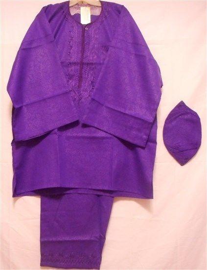 Dashiki Vintage African Black History Month Men Pant Suit Free Size Plus Purple #Handmade #TraditionalRayonwithBrocadeprintSuit