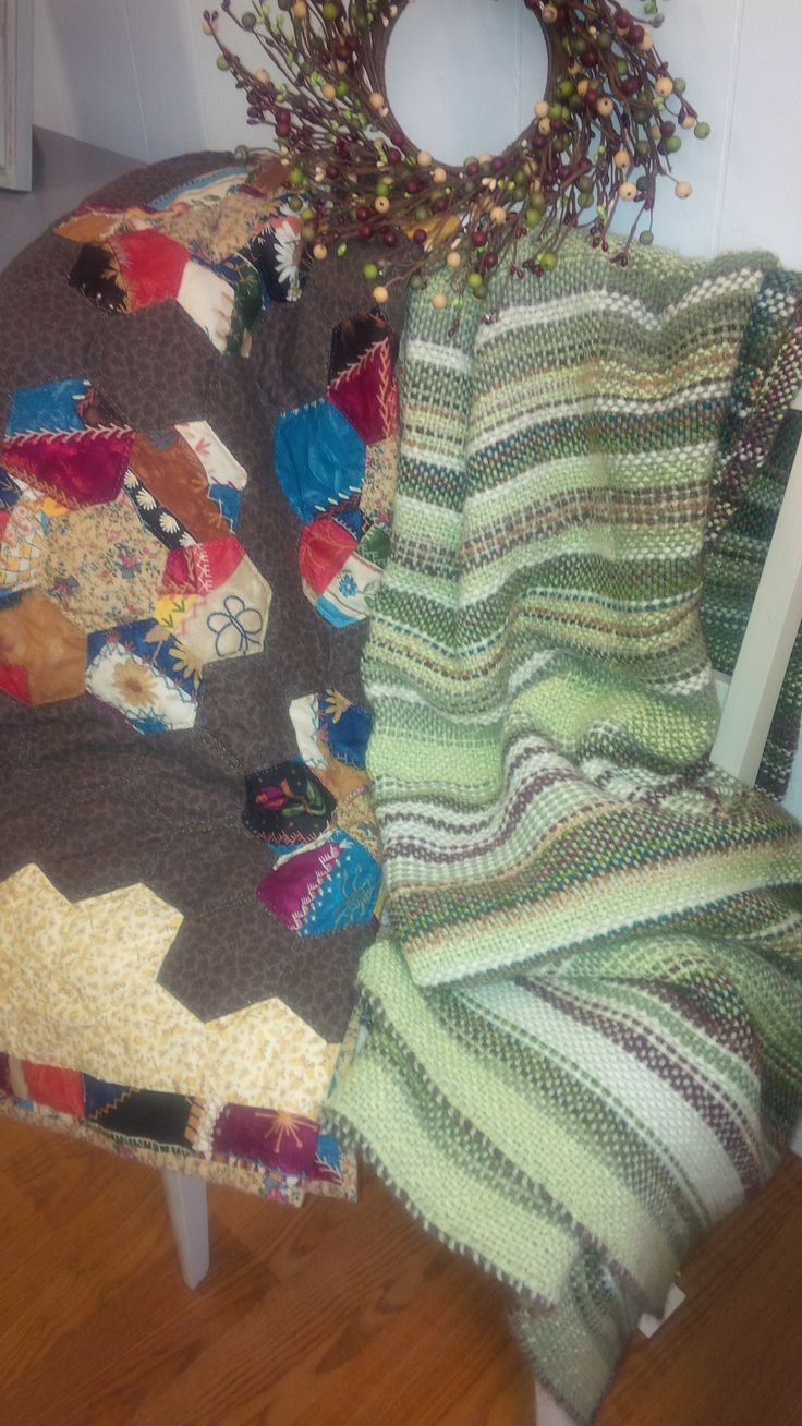 Lovingly Hand Stitched Quilt and a Woven Blanket ~ Local Artisans <3  Available at Mariposa Design 73 Foster Street, Perth, ON K7H 1R9