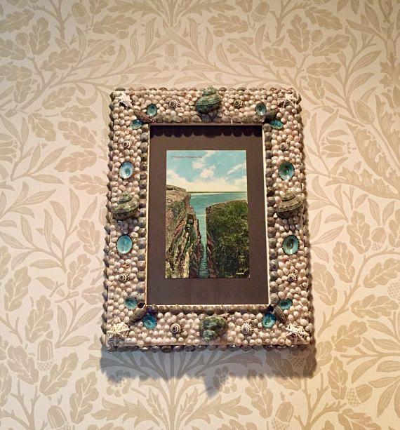 Handmade Seashell Frame with Antique Postcard of Purgatory