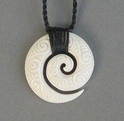 Intricately Carved Maori Bone Koru Necklace - koru, necklace, maori, bone, so, carved, ... - Shopenzed.com