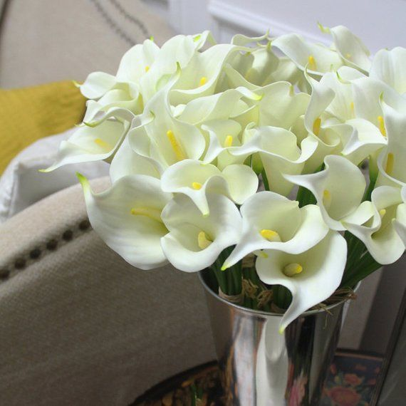 Real Touch 9 Calla Faux Lily Bouquet In White 13 Tall Calla Lily Bouquet Artificial Flower Bouquet Lily Bouquet