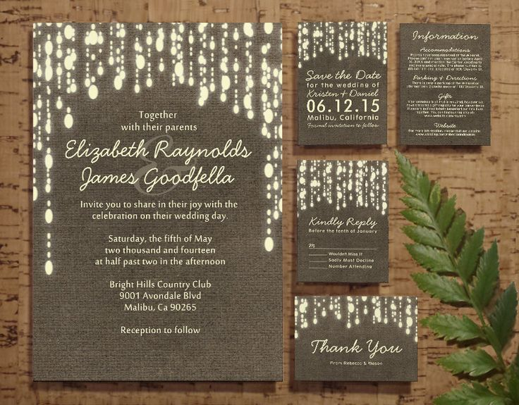 Country String of Lights Wedding Invitation Set/Suite, Invites, Save the date, RSVP, Thank You Cards, Response Card, Printable/PDF/Printed by InvitationSnob on Etsy https://www.etsy.com/listing/193518721/country-string-of-lights-wedding
