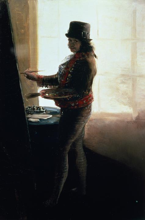 Francisco Goya, n.d, Self Portrait in the Studio #art #painting