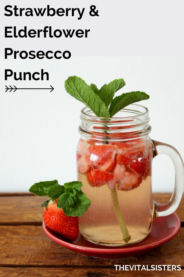 Deliciously refreshing strawberry and elderflower prosecco punch --- www.thevitalsisters.com