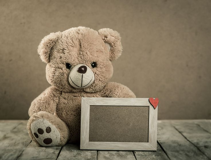 Cute teddy bear with a photo frame is a perfect gift.