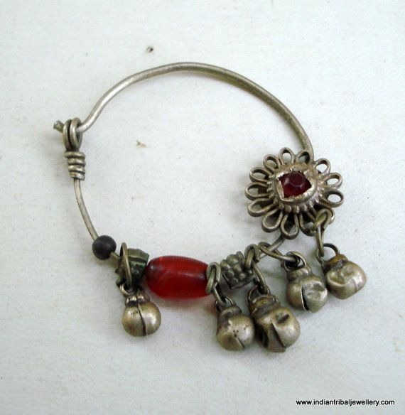 vintage antique ethnic collectible tribal old silver nose ring nose ornament india