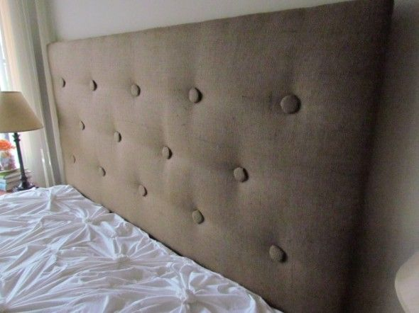 "Clever diy burlap tufted headboard---use staple gun to create ""tufts"" and glue buttons on top"