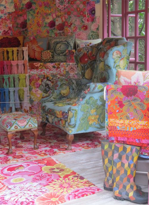 The interior of Kaffe Fassett's 'Artisan retreat' at Chelsea Flower Show 2012. We love the painted wellies !