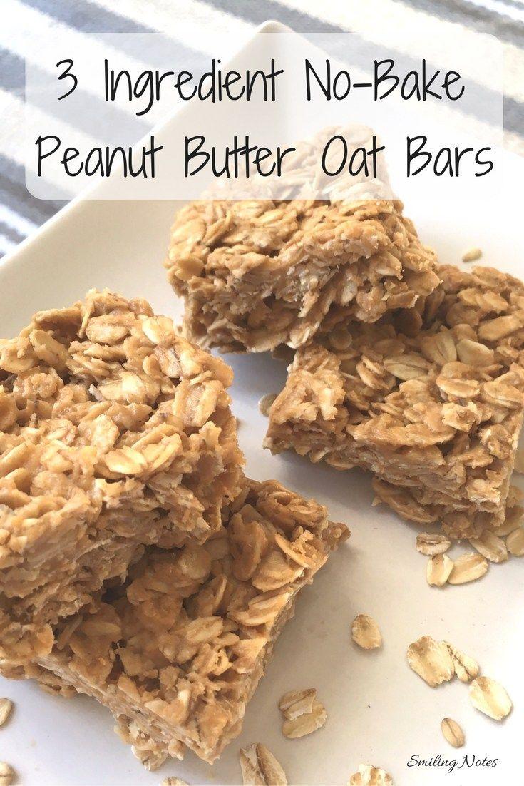 3-Ingredient No-Bake Peanut Butter Oat Bars
