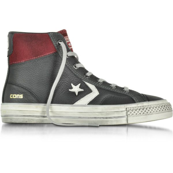 Converse Limited Edition Star Player High Black/Truffle Leather and... (570 BRL) ❤ liked on Polyvore featuring men's fashion, men's shoes, men's sneakers, mens sneakers, mens high top sneakers, mens leather shoes, mens leather high tops and mens leather sneakers
