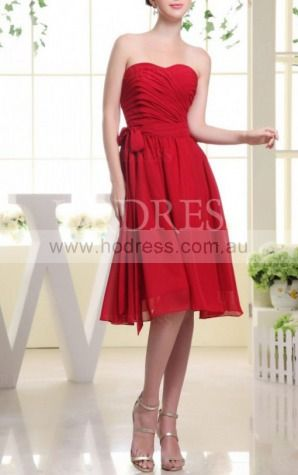 A-line Sweetheart Knee-length Chiffon Natural Formal Dresses gt3465--Hodress