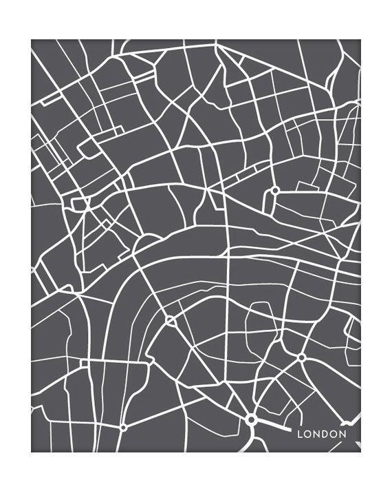 London City Map Art Print.  I like this idea a lot!