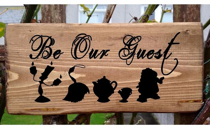 Beauty and the Beast - Be Our Guest Greetings Welcome Sign Plate Door  Plaque