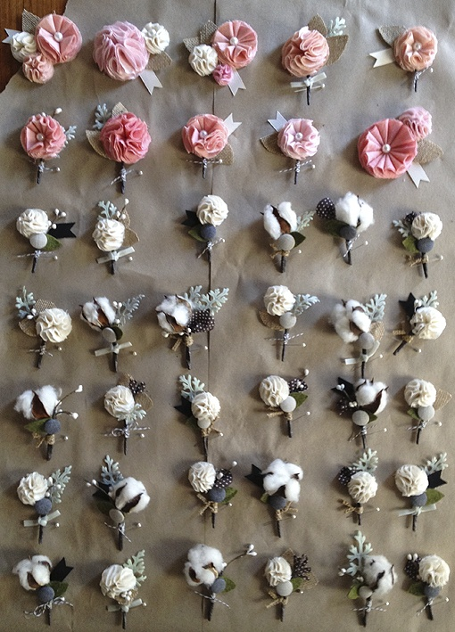 40 handmade custom boutonnieres and corsages for woodberry kitchen= love the use of cotton?