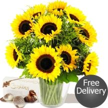 Autumn Sunflowers & Chocolates Fabulous Sunflowers & Solidago Bouquet