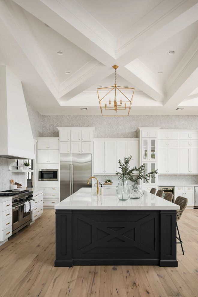 Modern and Classic White Kitchen with Black