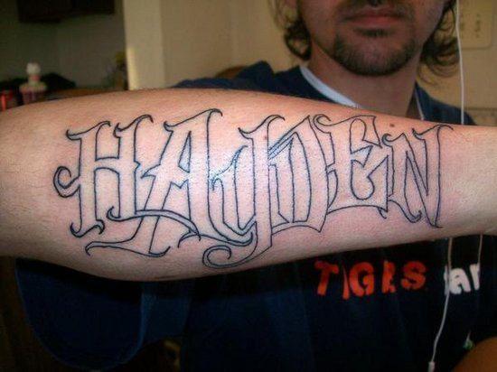 forearm name tattoos | Hayden Forearm Tattoo