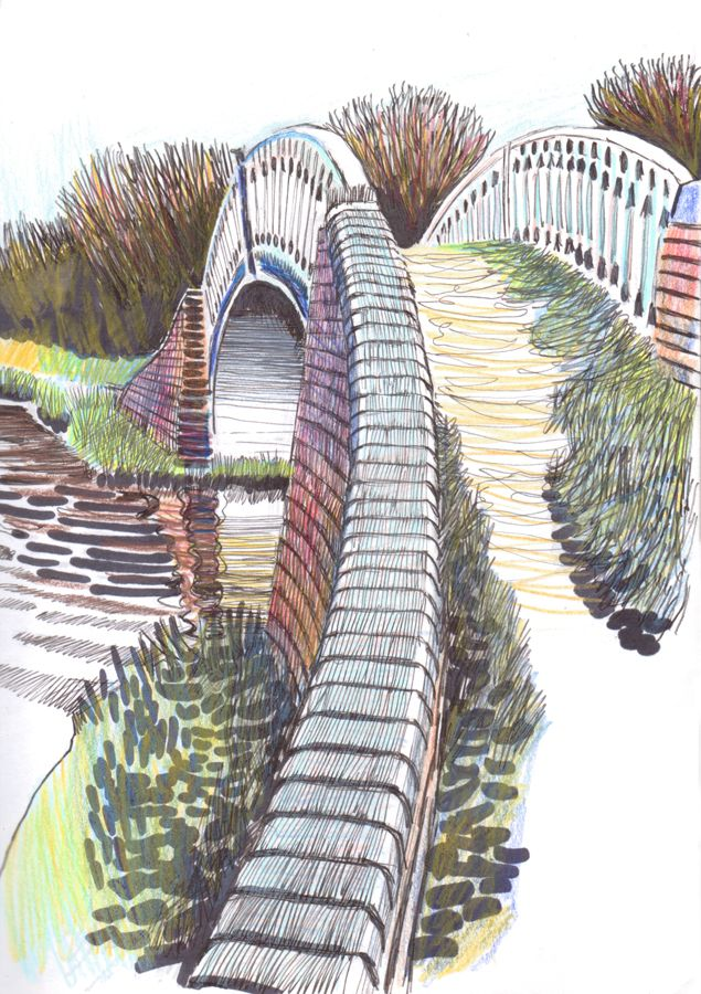 Rugby Bridge. Ink and coloured pencil 2016 © Eric Gaskell 2016