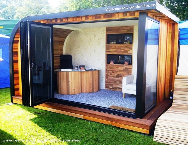 67 best garden offices images on pinterest garden office for Garden office interior design ideas