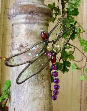 Stained Glass Dragonfly Window Sun Catcher