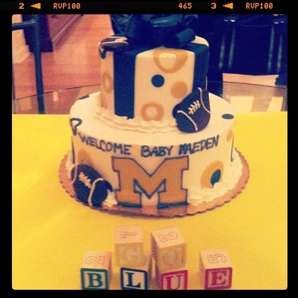 Ultimate baby shower cake. #GoBlue