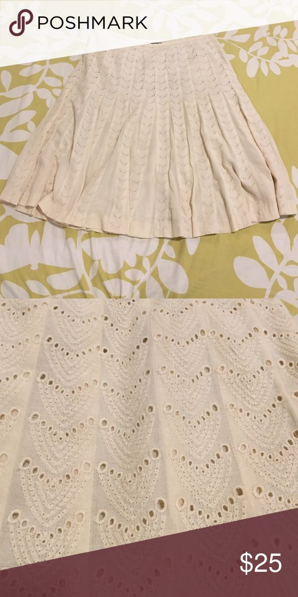 """Cream Eyelet Skirt Ann Taylor size 12. A-line style and good length. It hits me right about at the knee and I'm 5'5"""". Ann Taylor Skirts A-Line or Full"""