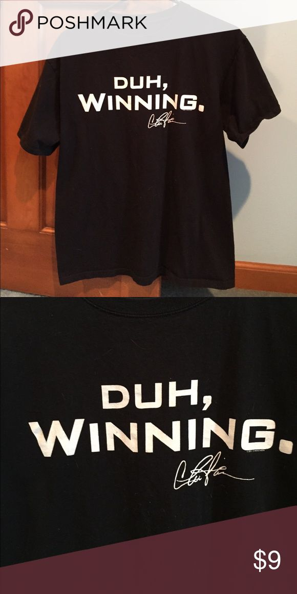"""Men's Charlie Sheen Duh, Winning t-shirt Men's black short sleeve t-shirt with Charlie Sheens infamous saying """"duh, winning"""". Cotton material. Size unknown but probably a men's small-medium.  ‼️I accept almost all offers💜‼️ Shirts Tees - Short Sleeve"""