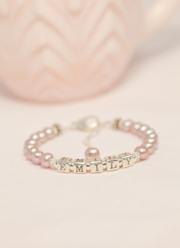 Keepsake pearl bracelets for girls from Little Girl's Pearls - personalized with her name. ♥