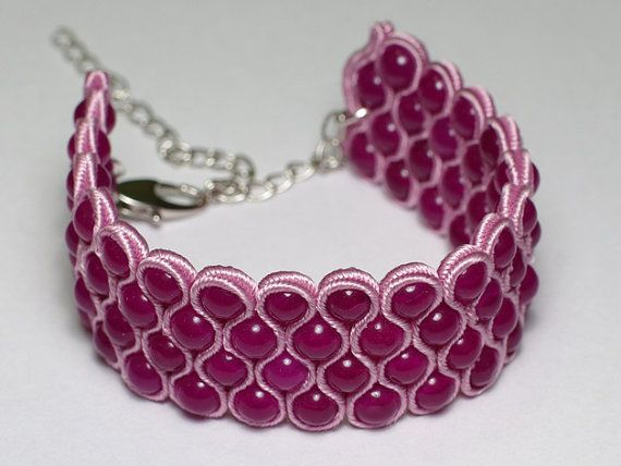 Light violet jade soutache bracelet - Would love to use this technique for a choker.