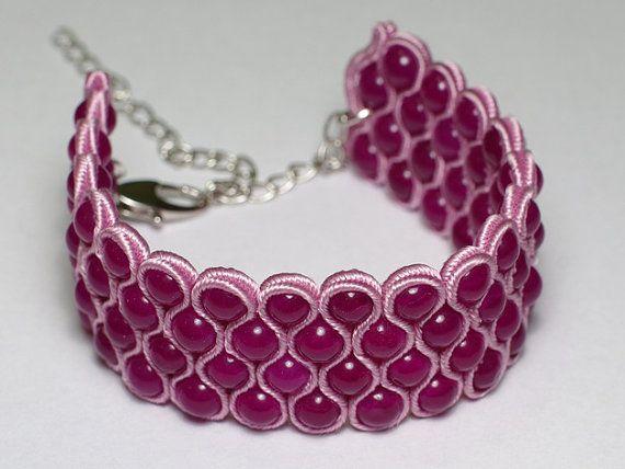 Light violet jade soutache bracelet - Would love to use this technique for a choker.