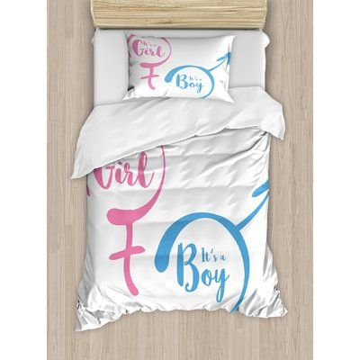 Ambesonne Gender Reveal Decorations Text with Gender Sign Simple Announcement Duvet Set Size: Twin