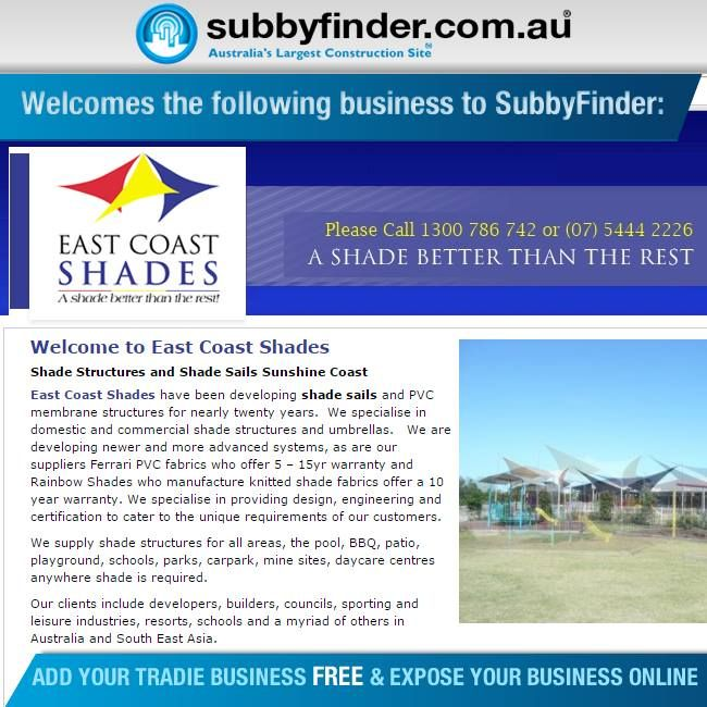 It's FREE to register your Tradie business on Subbyfinder.com.au Building your SubbyFinder profile is quick and easy. Fill out your industry experiences, industry type and any other forms of expertise in your industry #subbyfinder #tradie #tradies #EASTCOASTSHADES