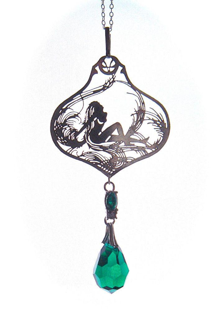 Vintage Czech Glass Pendant Necklace Art Nouveau Green FIligree Lady Nude Erotic #Pendant