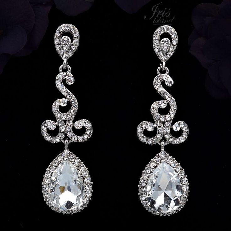 Rhodium Plated Clear Crystal Rhinestone Drop Dangle Chandelier Earrings 0322 New…