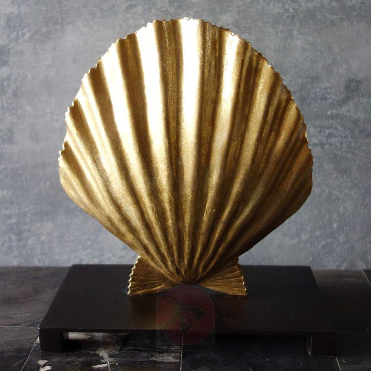 Muschelförmige, mit Blattgold-Finish veredelte Designer-Tischleuchte Venus.