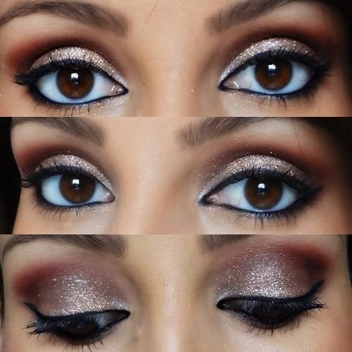 Makeup for brown eyes | using warn metallics like golds, and coppers bring out the golds and coppers in brown eyes, making them brighter.