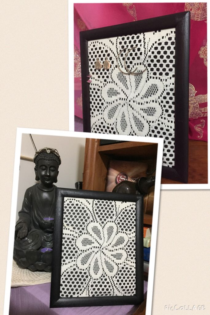 Wooden picture frame. Take back off, paint black all over, allow to dry, simply pull doily over and put back together again. Can put glass back over if you prefer a sleeker look, this one was made for functionality to hang earrings off so opted for no glass.