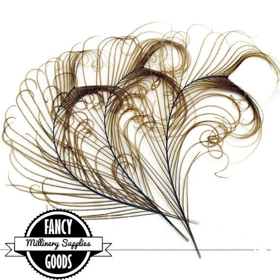 3 - Light Brown - Curled - Peacock Stems - Sprigs - Feathers - Steampunk - Millinery Supplies