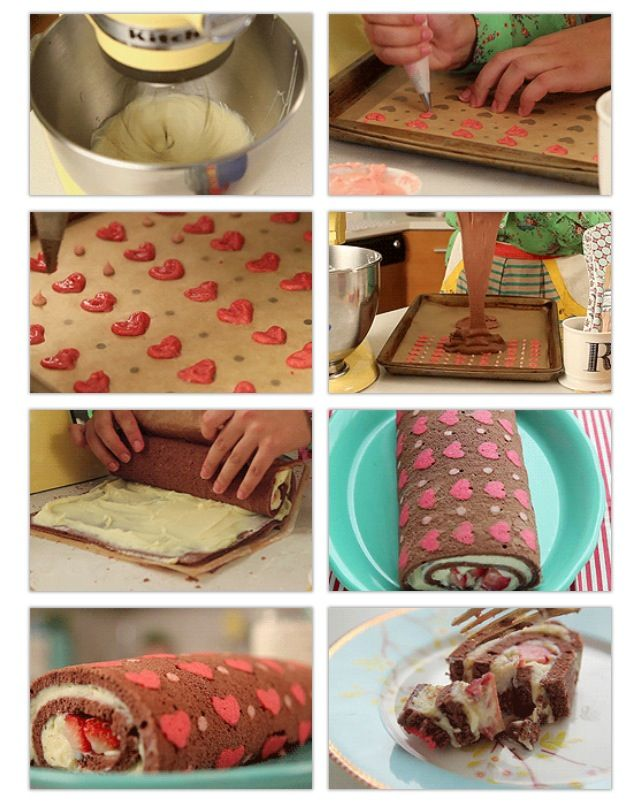 White chocolate and strawberry cake roll.