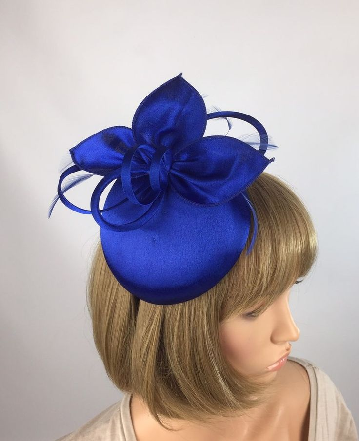 Satin Royal Blue Fascinator - Occasion Wedding Mother Of The Bride Ascot Races  | eBay