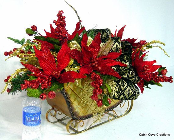 Holiday Sleigh Centerpiece Christmas Floral by cabincovecreations