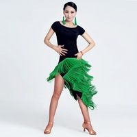 Nuevo espectáculo de danza latina adulta de mujer las borlas práctica de baile latino ropa negro Rumba samba danza de cha-cha cosutmes