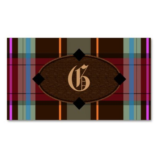 Sold - Add your own #monogram #preppy plaid #business cards.