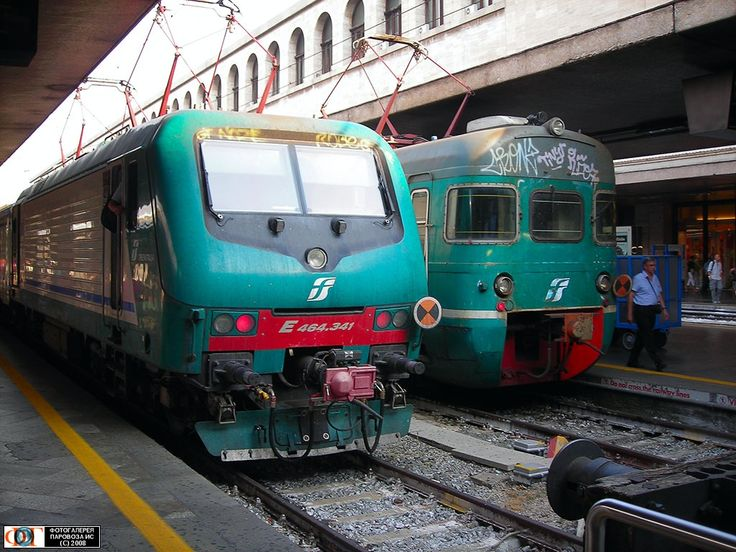 Электровоз E464.341 с челночным региональным поездом и электропоезд серии ALe801-940 на станции Рим-Термини (Roma Termini), Италия