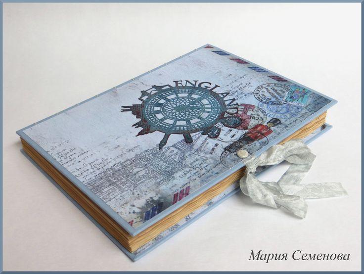 Блокнот Англия Открытый Коптский переплет формат А5 100 листов состаренных в чае Картинка на обложке вырезана в ручную