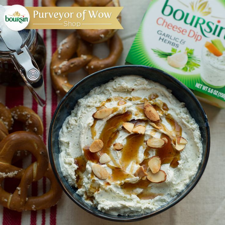 Here's a sweet and savory snack your whole family will enjoy while they're waiting for the bird this Thanksgiving. Drizzle maple syrup over Boursin cheese dip and top with slivered almonds. Salty pretzels act as the perfect scoop. No pretzels? A spoon works, too.