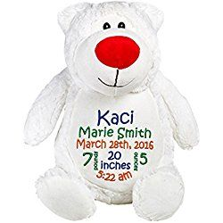 Personalized Stuffed Polar Bear with Embroidered Baby Block in Blue, Green, and Orange